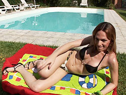 Alessandra leite. Petite Alessandra Masturbating By The Pool