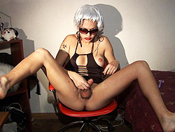 Nikki white wig. Naughty Nikki wearing a white wig and delight herself
