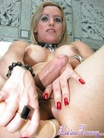 Milene bismark dildo. Ugly tranny inserting a huge double dildo in the arse titillating her heavy cock