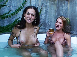 Nicole montero and mia isabella. Two tranny stars having a chat in the jacuzzi