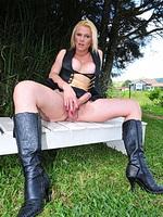 Samara de macedo. Sexy shemale exposing her cock outdoors