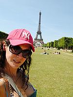Eiffel tour balls. Naughty ladyboy Nikki exposing her balls