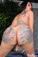 Penelope jolie. Nasty and sick curvy and phat arse tatooed tranny posing