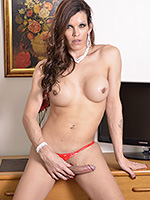 Celine  ts celine  excited celine jerks her heavy cock. Exciting Celine jerks her great tool